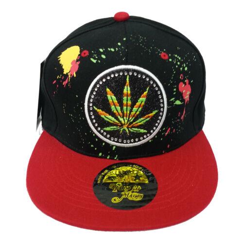 Cannabis Fitted Caps Leaf Snapback Baseball Ganja Bling Hip Hop Marijuana Hats