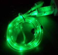 GREEN LED LIGHT UP CELL PHONE ANDROID CABLE CHARGER CORD micro usb plug cellular
