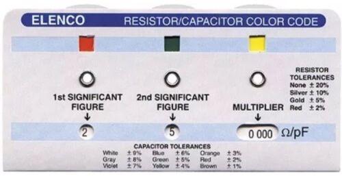 ELENCO CC-100 RESISTOR//CAPACITOR COLOR CODE CALCULATOR GUIDE