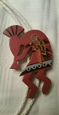 HOPI INDIAN PAINTED WOOD KOKOPELLI FLUTE PLAYER WHITE LEATHER BOLO TIE NECKLACE