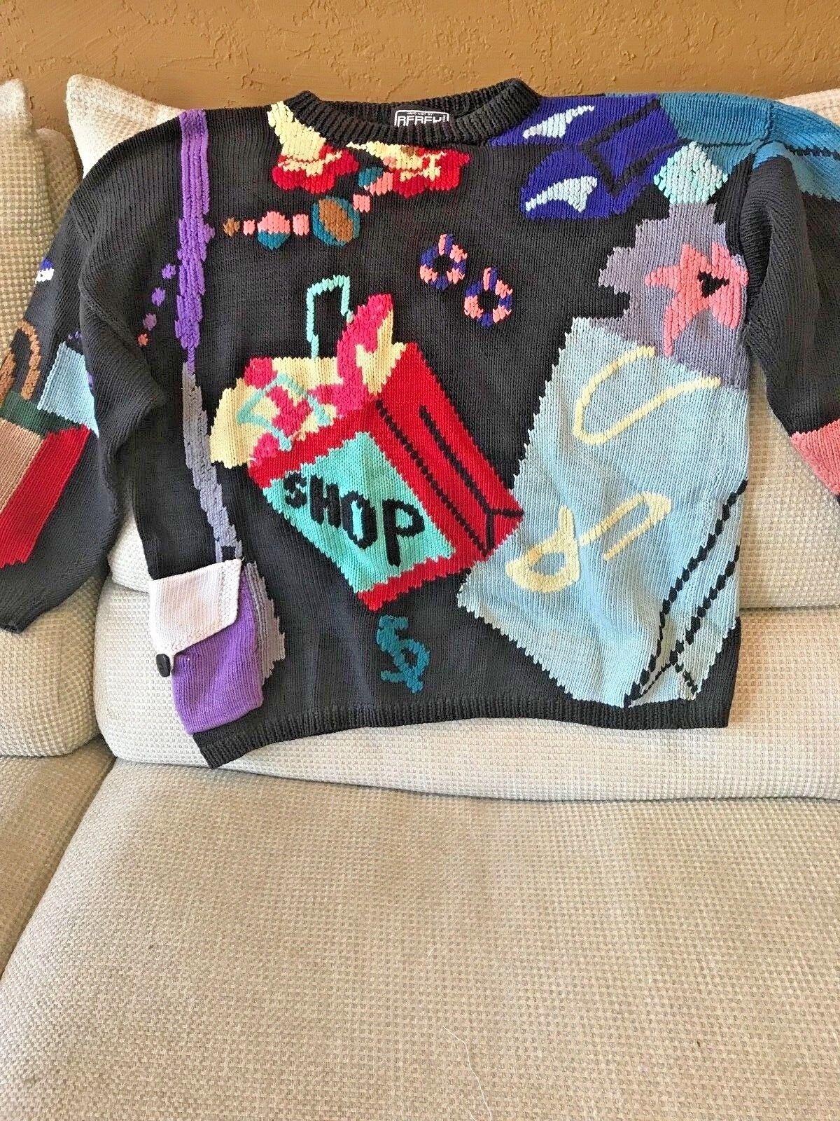 Vintage 1987 Berek Marta D Uruguay Designer Ugly Sweater Shopping, shoes size M