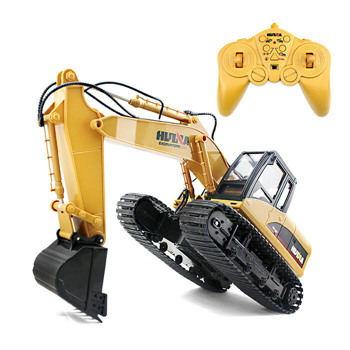 HUINA 1550 1 14 2.4GHz 15CH RC Alloy Excavator RTR with Independent Arms Yellow