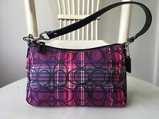 COACH Pink & Purple Tartan Plaid Signature Glitter Small Purse Evening Handbag