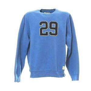Herren-Vintage-Sweatshirt-Gr-XL-Retro-Pullover-Blau-Sport-Logo-Langarm