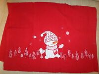 Sur La Table Christmas Red Embroidered Snowman Large Cotton Kitchen Towel
