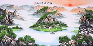 STUNNING-ORIGINAL-ASIAN-FINE-ART-CHINESE-WATERCOLOR-PAINTING-Landscape-scenery