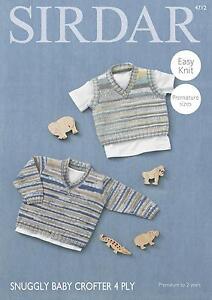 5bcb84171b54 Sirdar 4712 Knitting Pattern Baby Sweater   Tank Top Snuggly Baby ...