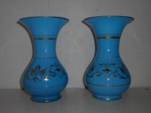 Doux Paire De Grands Vases Anciens En Opaline Bleu Et Dorures.xix°.verre, Cristal,