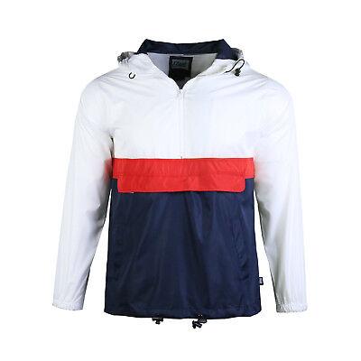 Men/'s Half Zip Hooded Lightweight Windbreaker Pullover Hoodies Jacket Navy White