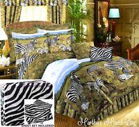 BLACK WHITE SAFARI ZEBRA KINGDOM 6-8pc Comforter Set  King Queen Full Twin Sizes