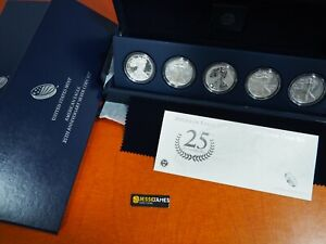 2011-P-REVERSE-PROOF-SILVER-EAGLE-5-COIN-25TH-ANNIVERSARY-SET-W-BOX-COA-S-W
