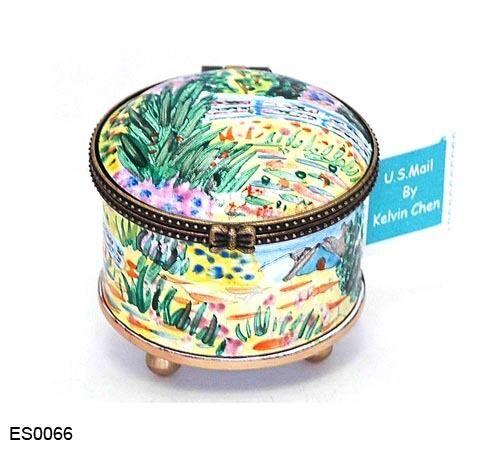 KELVIN CHEN Enamel Copper Hand Paint STAMP Dispenser Holder Water Lily Monet