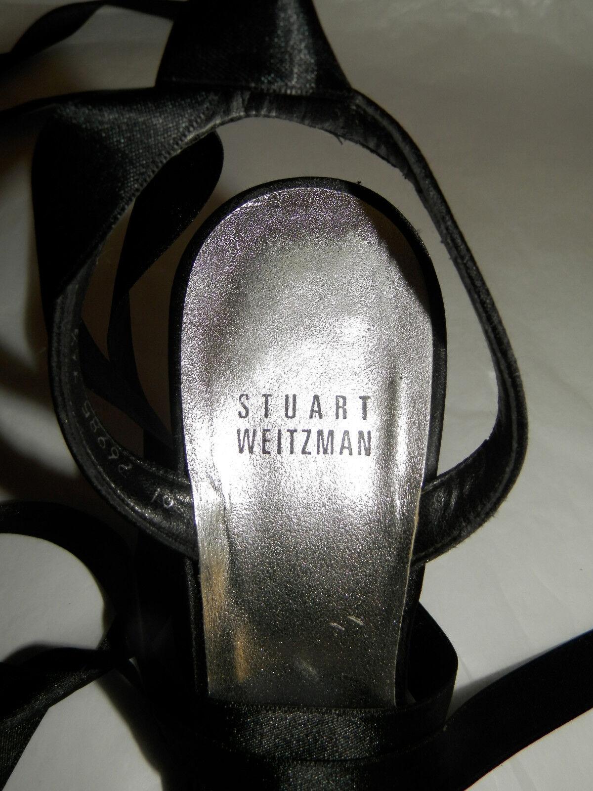 STUART WEITZMAN (UK3.5 / DIAMANTE EU36.5) BLACK SANDALS WITH DIAMANTE / FRONT AND ANKLE TIE b60bd5