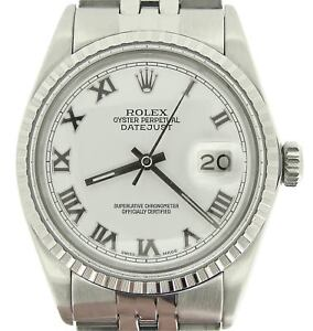 Rolex-Datejust-Mens-Stainless-Steel-Watch-White-Roman-Dial-Jubilee-Band-16030