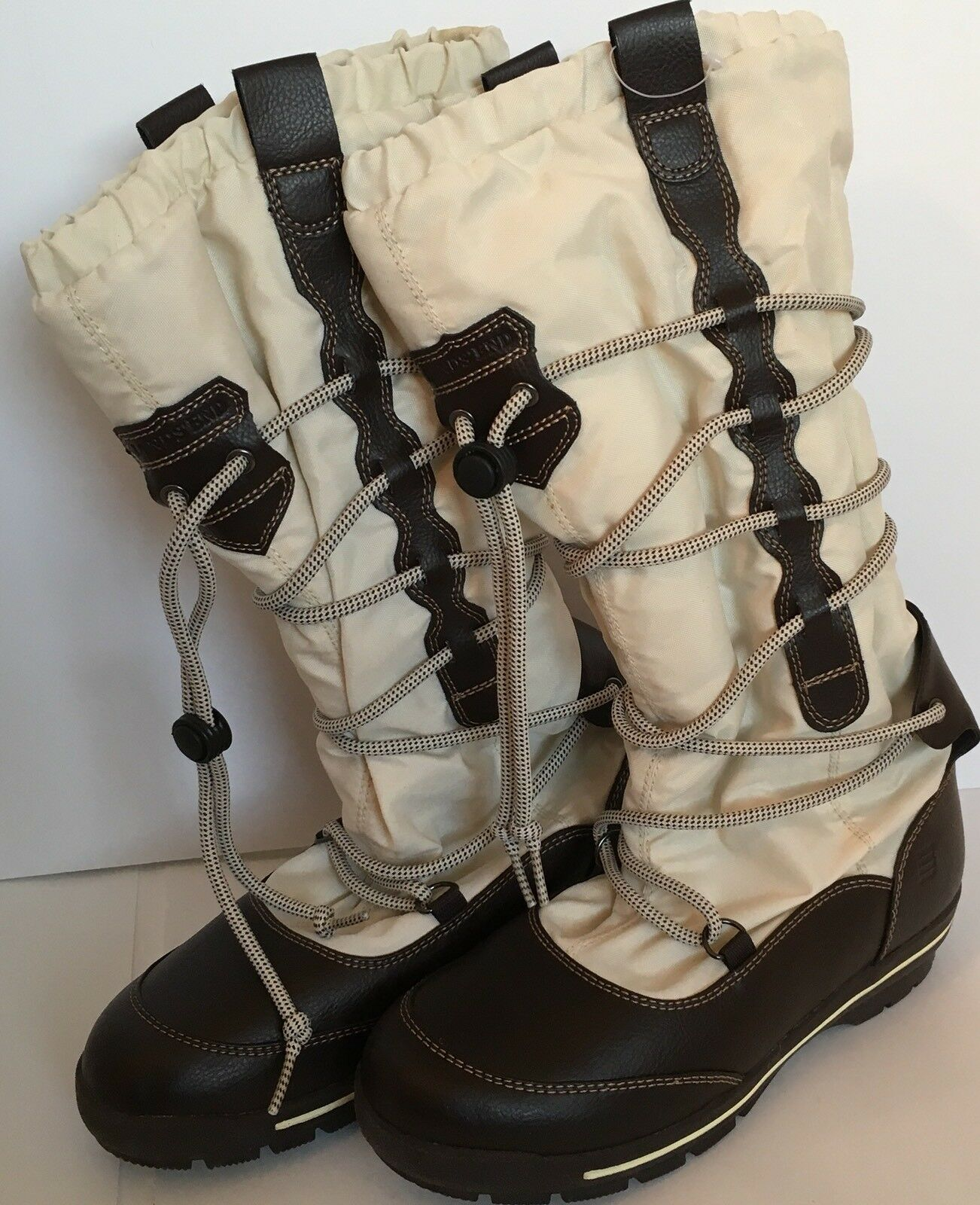 Lands End Womens Size 7B Off white Lace-Up Mid Calf Winter Boots Fleece Lined WR