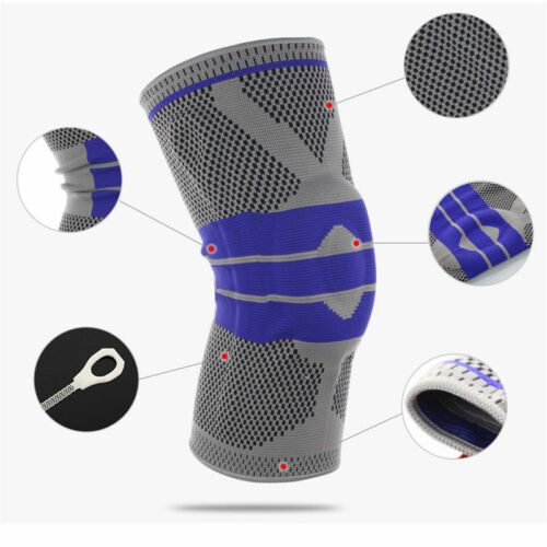 Sports High Compression Silicone Padded Knee Support Sleeve Nylon/&Silicon .LS