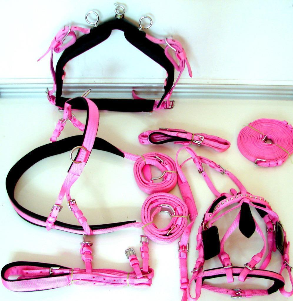 PINK DRIVING CART SYNTHETIC PATENT HARNESS HORSE SIZE STUD BRIDLE  SADDLE WESTERN  online discount