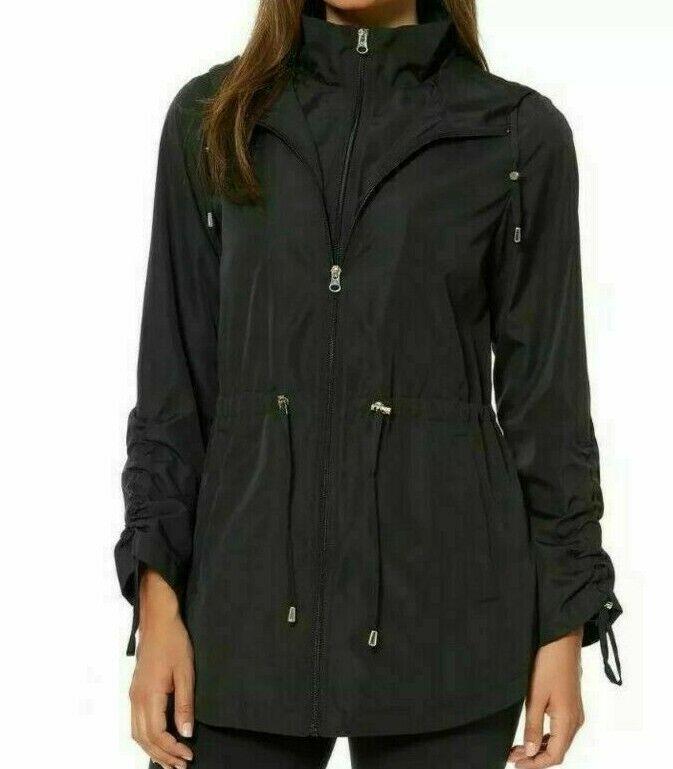 Jones New York jacket windsheeter size S M UK 10 12 black hooded showerproof
