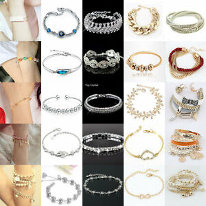 New-Charm-Women-Crystal-Gold-Silver-Plated-Bangle-Wrist-Bracelet-Beauty