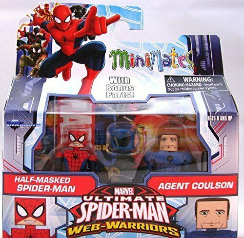 Ultimate Spider-Man Half Masked /& Agent Coulson Minimates Figure Set New Mint