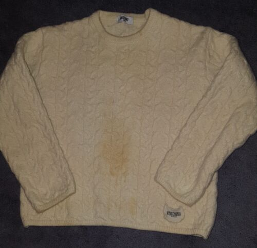 Vintage Cable Rrp 180 Heavy £ Moschino Jumper Knit Cream rwaSrM4Tqt