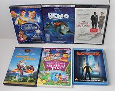 Disney Kids Lot of 6 DVDs Movies Cinderella, Finding Nemo, Mars Needs Moms, Pooh
