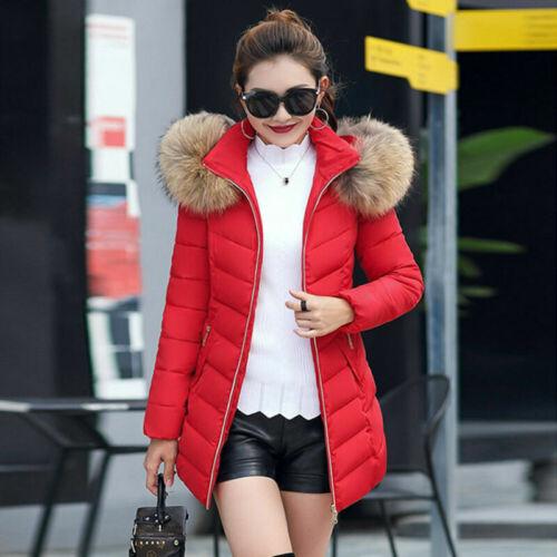 Women/'s Winter Warm Fur Collar Hooded Long Coat Jacket Slim Parka Outwear Coats