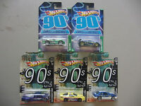 5x Hot Wheels 2011-2012 Cars Of The Decades Series - The 90's - Lot Of 5