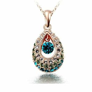 Chic-Lady-Indian-Princess-Hollow-Crystal-Teardrop-Pendant-Chain-Necklace-Jewelry