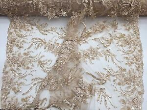 Champagne-French-Design-Embroider-And-Beaded-On-a-Mesh-Lace-wedding-Prom-by-Yard