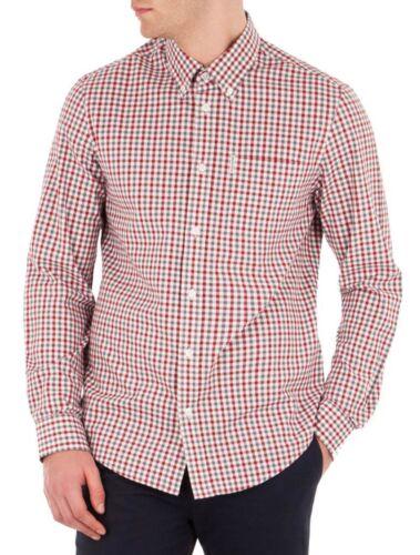 Ben Sherman Cotone Gingham Check camicia manica lunga regolare PULSANTE BIANCO SPORCO ROSSO