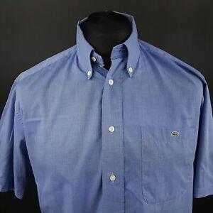 Lacoste-Mens-Shirt-40-MEDIUM-Short-Sleeve-Blue-Regular-Fit-No-Pattern-Cotton