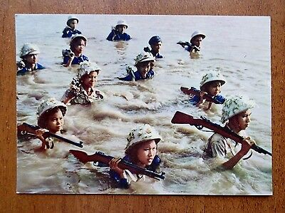 Vintage Postcard Xunhasaba Hanoi Vietnam Crossing the river Hong Rifles Military
