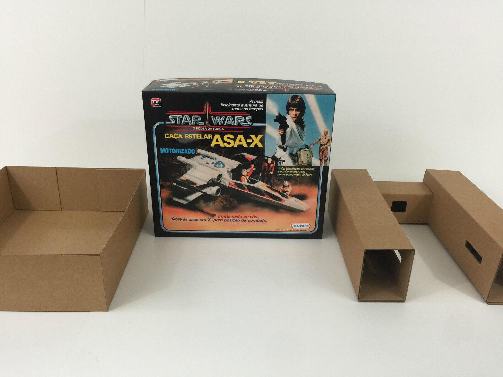 Replacement vinatge star wars glasslite asa-x  x-wing box + inserts