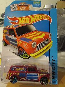 Hot-Wheels-039-67-Austin-Mini-Van-HW-City-Red-w-multi-colored-wheels