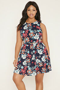 Forever-21-Plus-Size-Floral-Dress-Navy-Coral-XL-1X