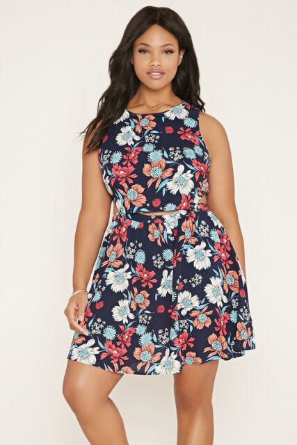 Forever 21 Plus Size Floral Dress Navy Coral XL/1X