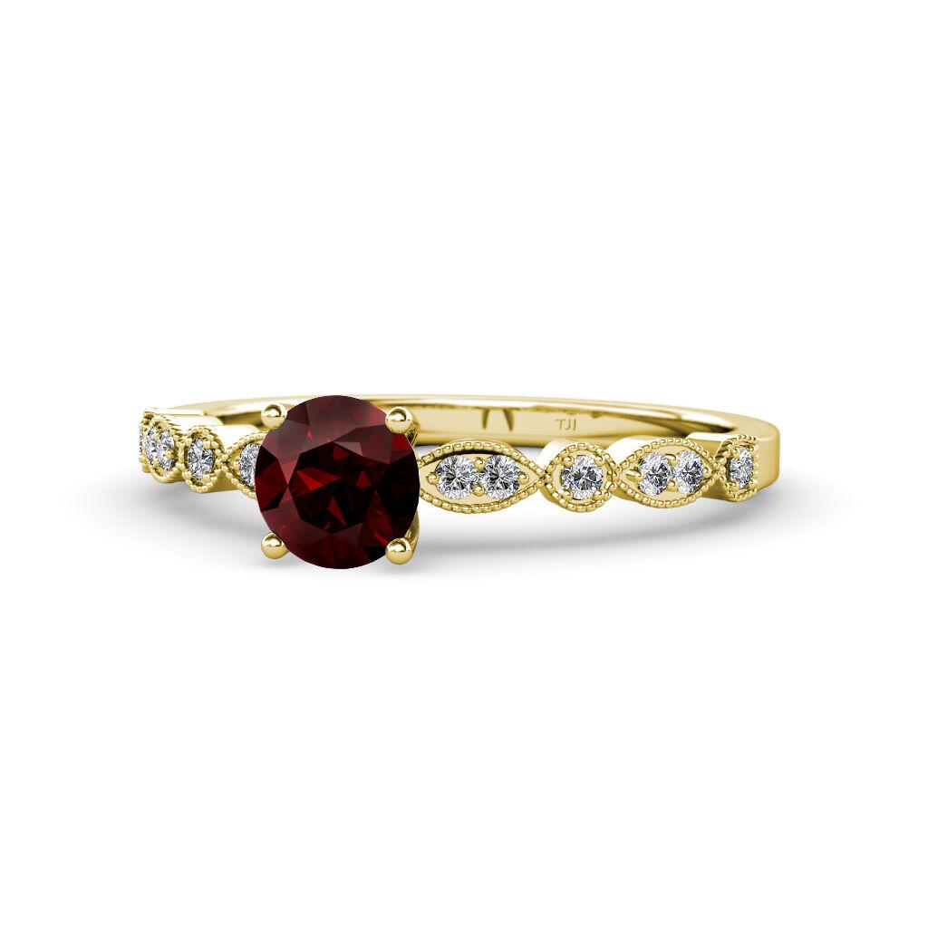 Round Red Garnet Diamond Women Milgrain Engagement Ring 14K Yellow gold JP 58447