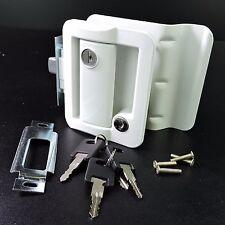 White RV Paddle Entry Door Lock Latch Handle Knob Deadbolt NEW Camper Trailer