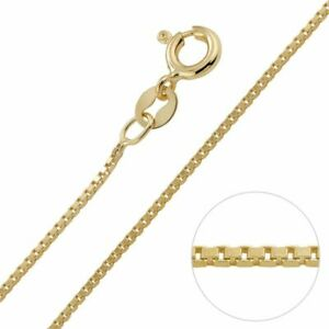 """Genuine Hallmark S 925 Sterling Silver 1mm Box Chain Necklace 18"""" Inch Long"""