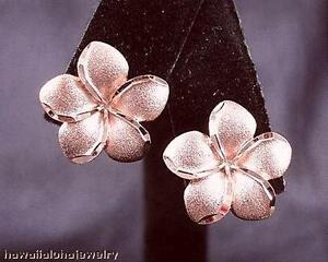 17MM SOLID 14K ROSE GOLD DIAMOND CUT MATTE HAWAIIAN PLUMERIA LEVERBACK EARRINGS