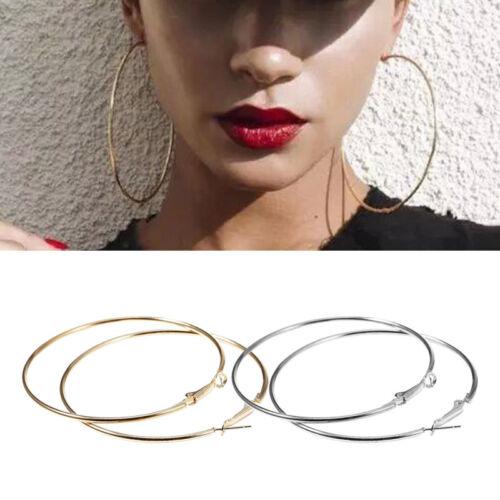 2Paire Femme Boucles d/'oreilles Anneaux Grand Cercle Dangle Simple Bijoux Cadeau