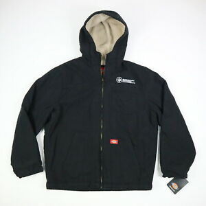 Dickies-Sanded-Duck-Jacket-Sherpa-Lined-Hooded-Black-NEW-NWT-Mens-LARGE