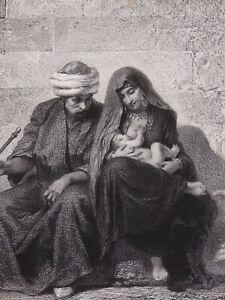 Lithographie Famille Fellah Caire A. Bida orientalisme allaitement maternel