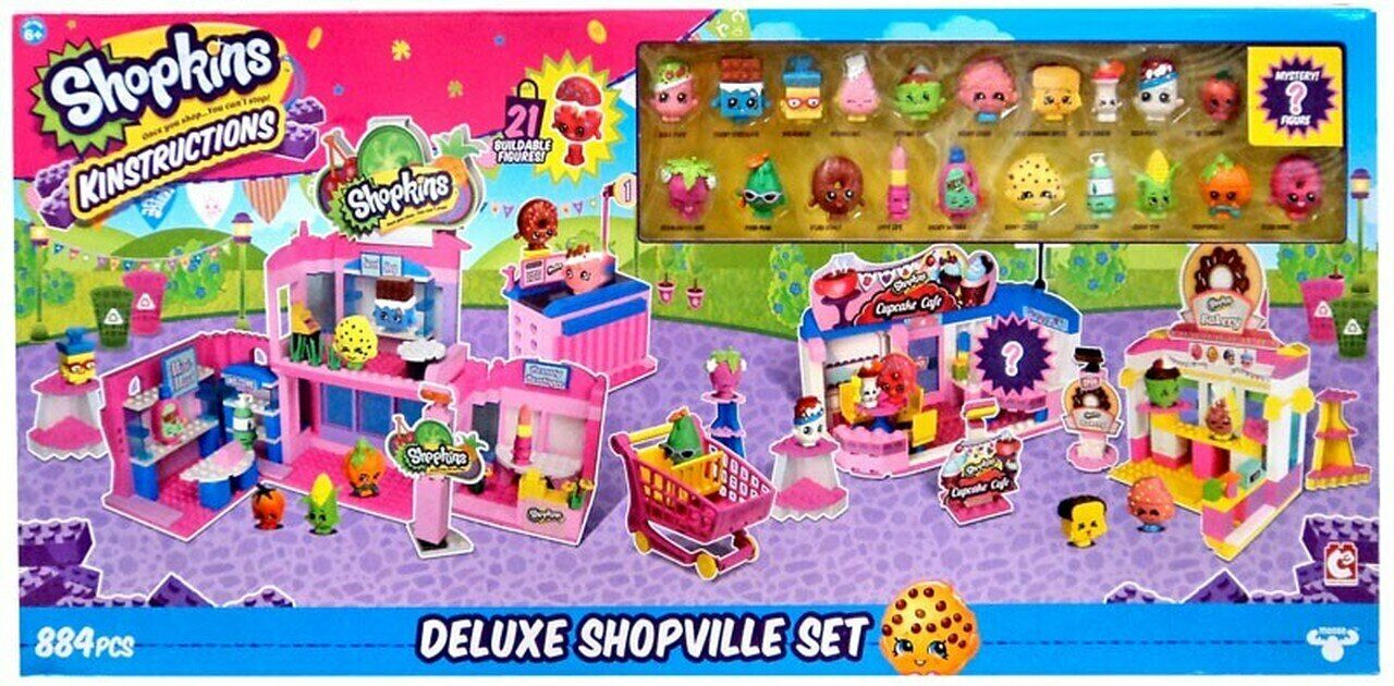 New Shopkins Kin'struckins Deluxe Shopville Building PlaySet Girl's Lego 884 Pc