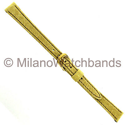 10mm Speidel Yellow Boar Grain Stitched Leather Ladies Watch Band Regular