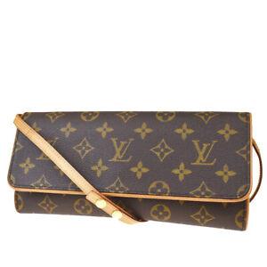 Auth-LOUIS-VUITTON-Pochette-Twin-GM-Shoulder-Bag-Monogram-Leather-M51852-86MD198
