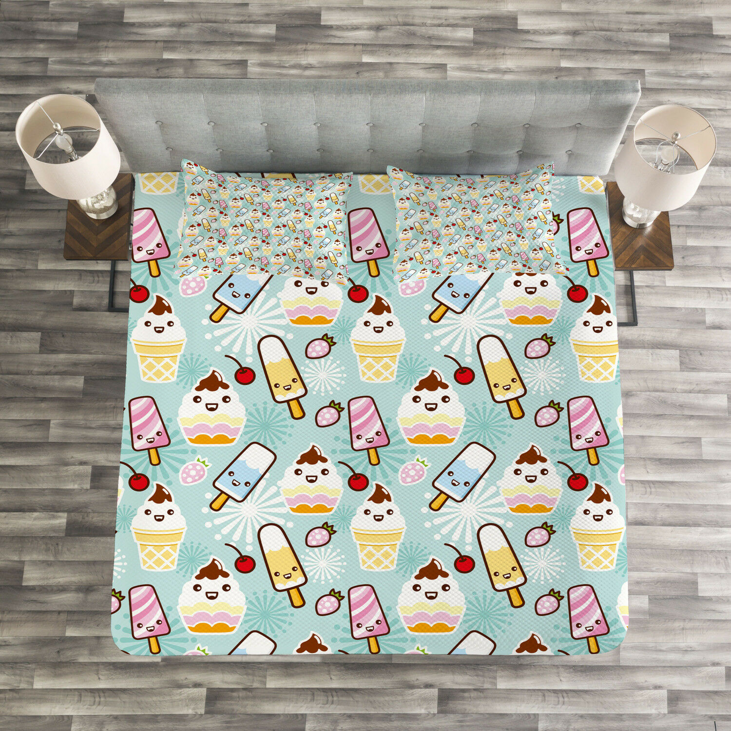 Ice Cream Quilted Bedspread & Pillow Shams Set, Cupcake Faces Print