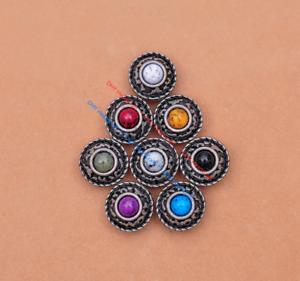 10X-Silver-Tone-Flower-Leather-Craft-Bag-Belt-Purse-Decor-Turquoise-Conchos-Set