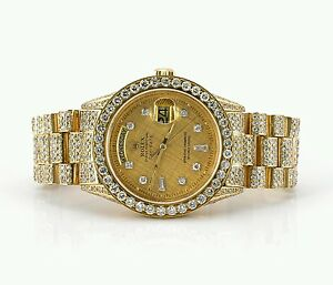 Details About Rolex President Watch Fully Iced Out With 19 Carat Diamonds Video Best Price